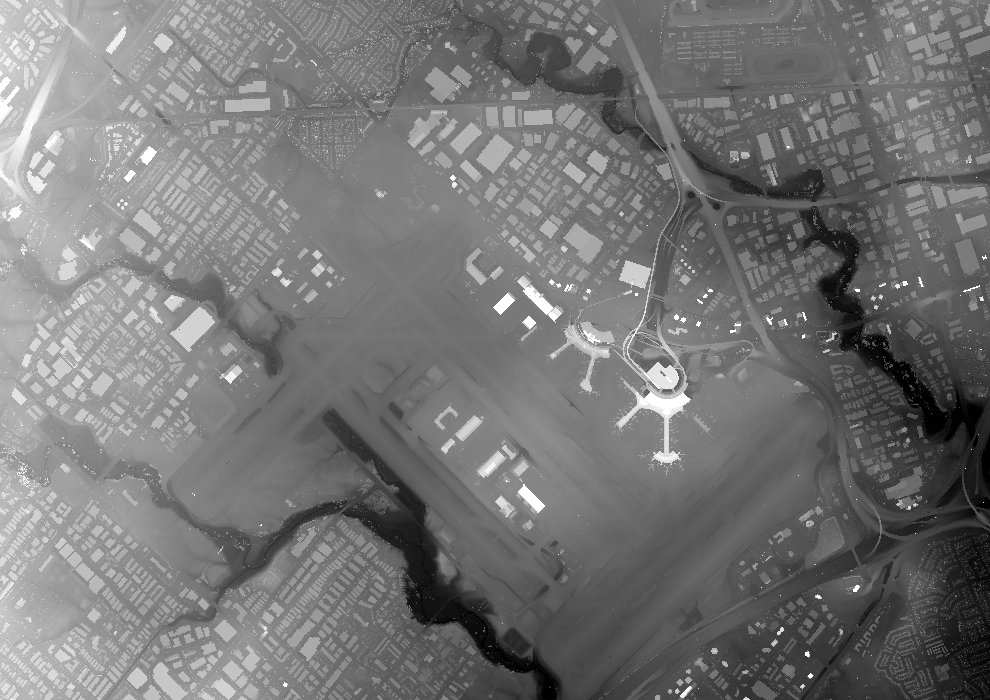 Image of 1m LIDAR DSM from 2018 over Toronto Pearson Airport