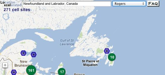 Loxcel Cell Map: Rogers in Newfoundland