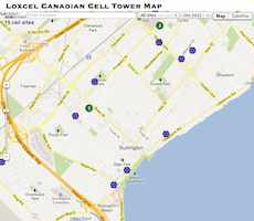 Cell Tower map of Burlington, ON