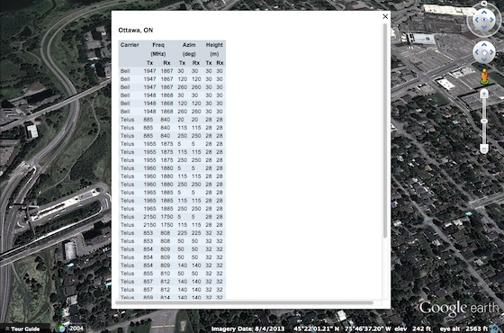 Cell site antenna details in a Google Earth KML file