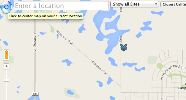 Canada Cellular Services showing geolocation icon