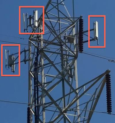 Close up of antennas on Telus site ON0458 on Transmission Tower