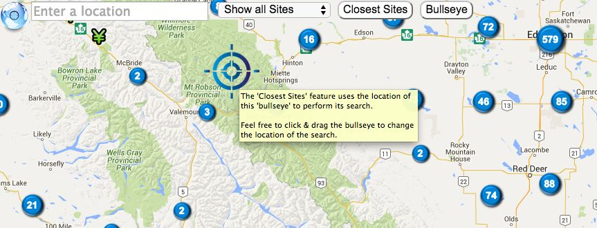 Canada Cellular Services showing closest site tool's bullseye.