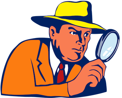 Detective holding a magnifying glass on the hunt for missing cell towers