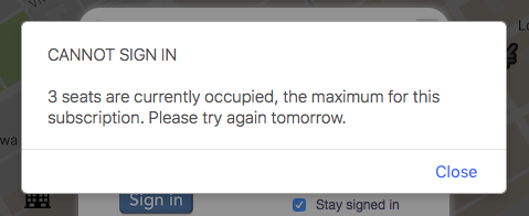 Dialog box warning that seat limit has been reached.
