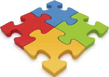 Jigsaw puzzle pieces with one piece separated