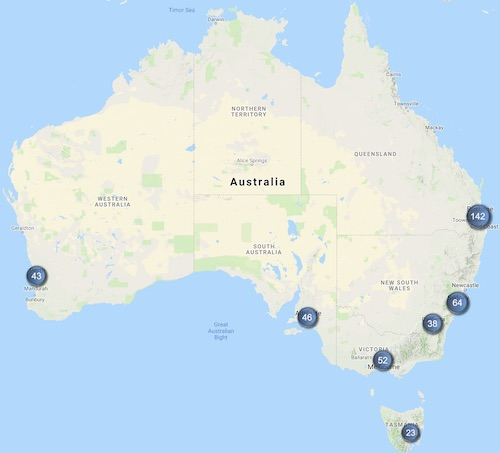 Australia map showing distribution of Telstra 5G sites